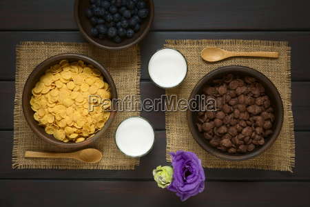 chocolate and simple corn flakes breakfast