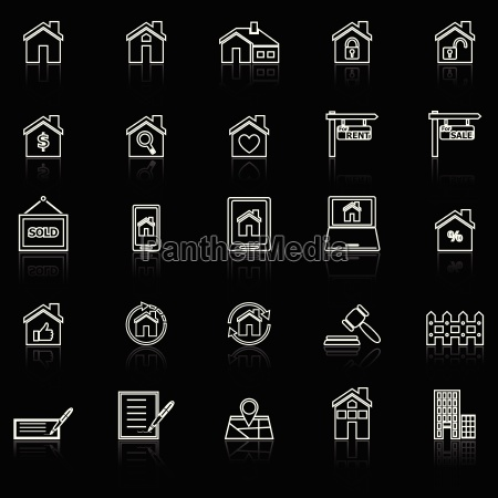 real estate line icons with reflect