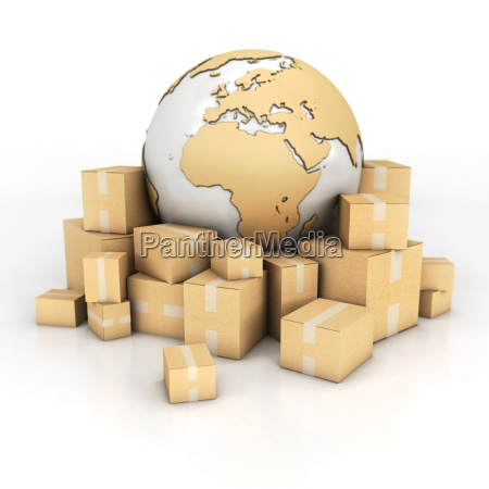 earth and boxes in cardboard texture