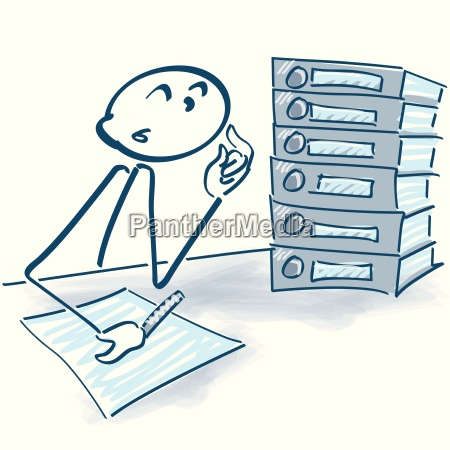 stick figure with files and overtime