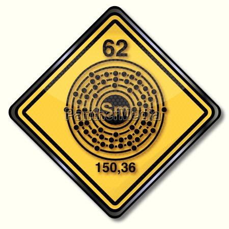 chemistry shield and chemical symbol samarium