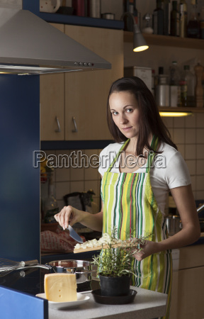 woman in the kitchen while cooking
