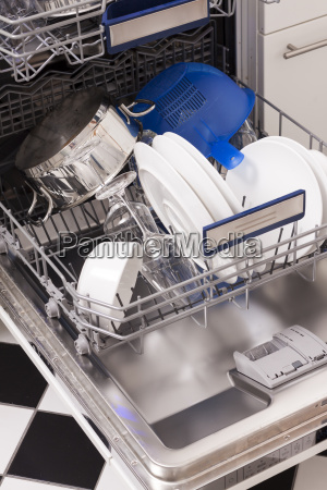 dishwasher with clean dishes and blue