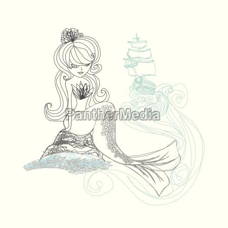 beautiful mermaid doodle illustration