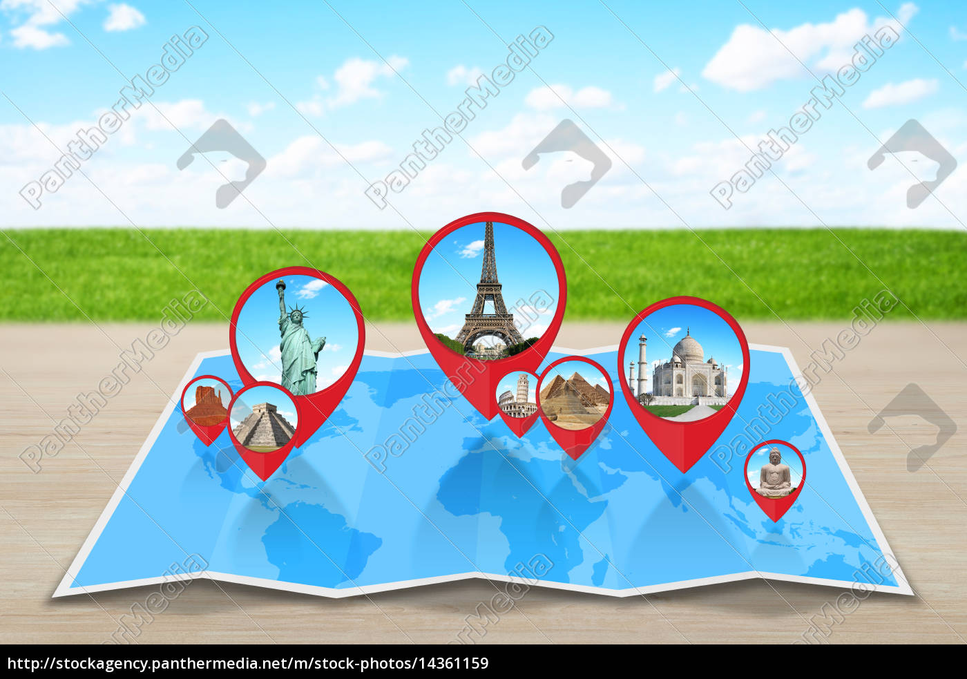 Royalty free image 14361159 - Pin map icon on a blue map