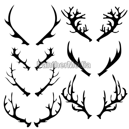 set of different horns silhouette isolated
