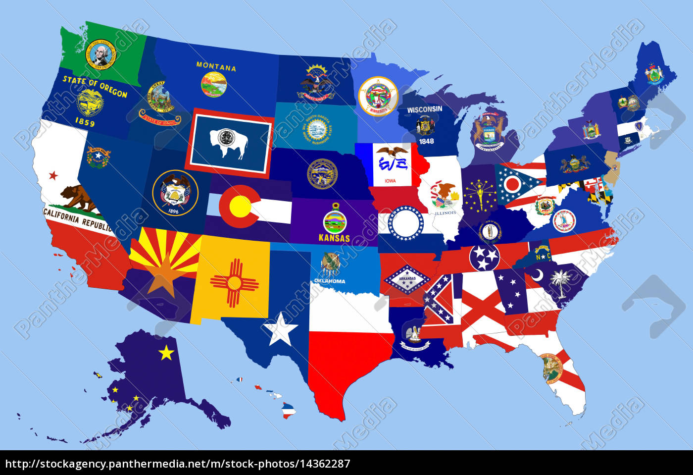 Picture of: Usa States Flag Map Royalty Free Image 14362287 Panthermedia Stock Agency