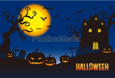 halloween pumpkins and a haunted mansion