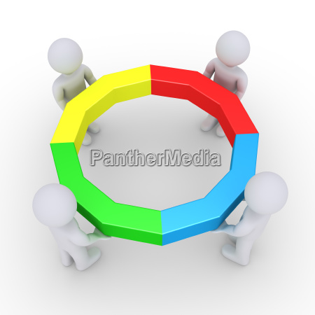four people holding completed circle