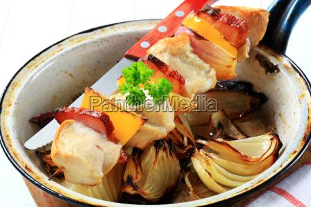chicken shish kebab with pan roasted