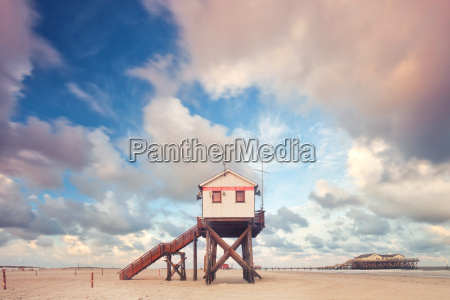 stilt house on the north sea