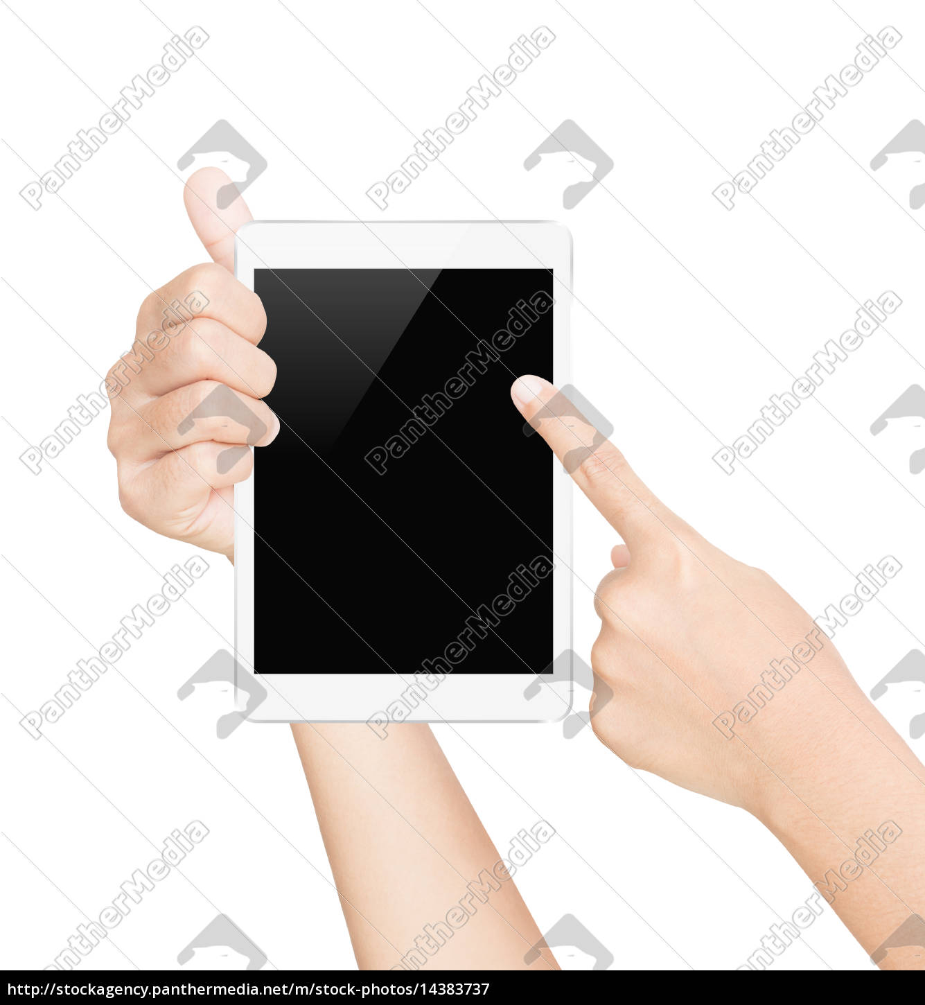 hand, hold, white, tablet, screen, isolated - 14383737
