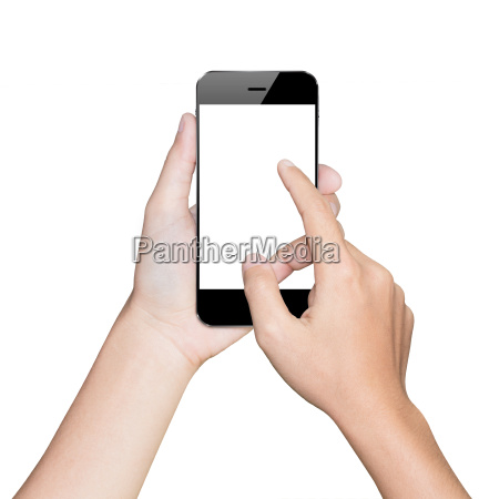 closeup hand using smartphone white mobile