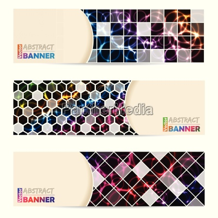 cool banner set with abstract laser