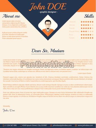 blue arrow cover letter design