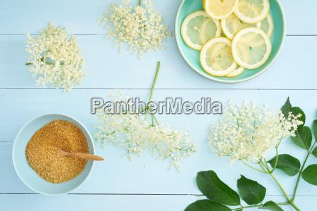 ingredients for elderflower syrup