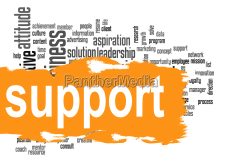support word cloud with yellow banner