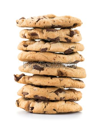 chocolate chip cookies over white background