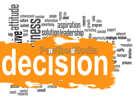 decision word cloud with yellow banner