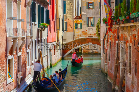 gondolas on lateral narrow canal in