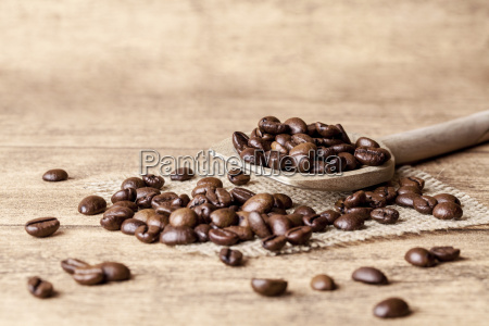 spoon with coffee beans