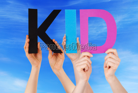 hands holding colorful straight word kid