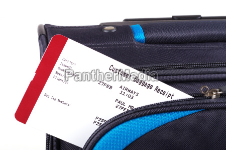 luggage tag and suitcase