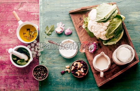 fresh cauliflower with savory ingredients
