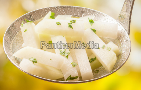 steamed or boiled kohlrabi with herbs