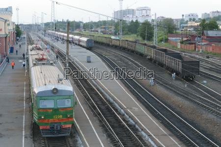 railway station trains platform wagons people