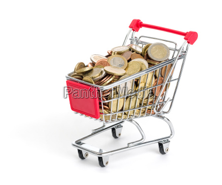 shopping cart filled with euro coins