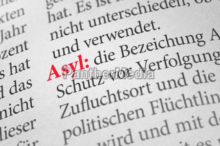 dictionary with the term asylum