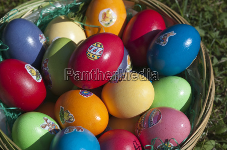 colorful easter eggs with label in