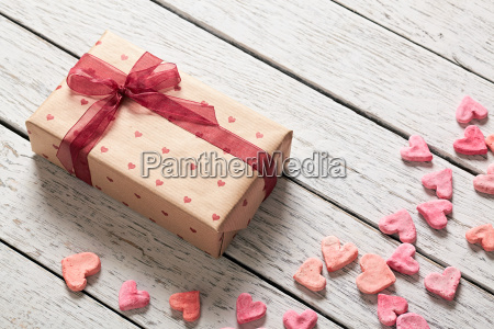 vintage gift box with heap of