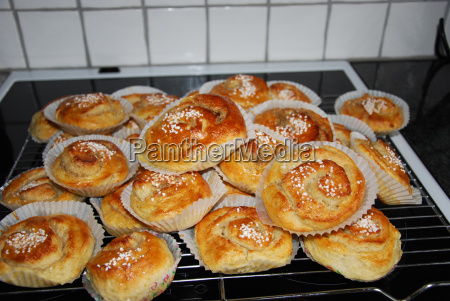 newly made buns on the stove