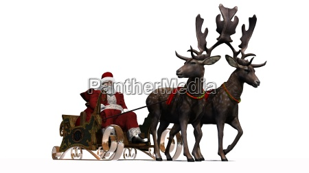 santa claus with sledge and reindeer