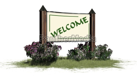 welcome welcome lettering on the