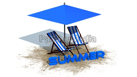summer lettering deck chairs and parasol