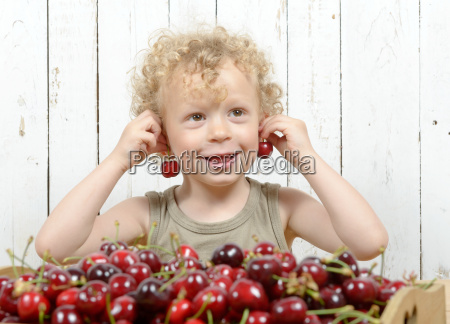 a small blond boy eating cherries