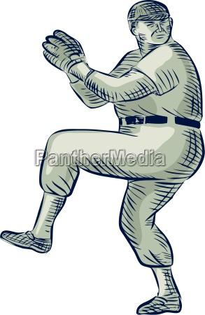 baseball pitcher pitching etching