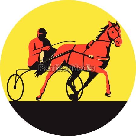 horse and jockey harness racing circle