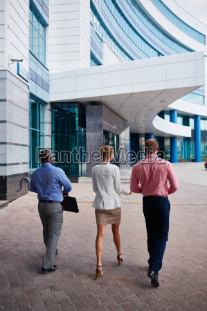 going to office building