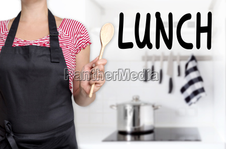 lunch chef holds cooking spoon background