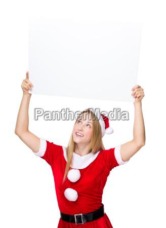 christmas girl raise up the white
