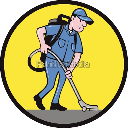 commercial cleaner janitor vacuum circle cartoon