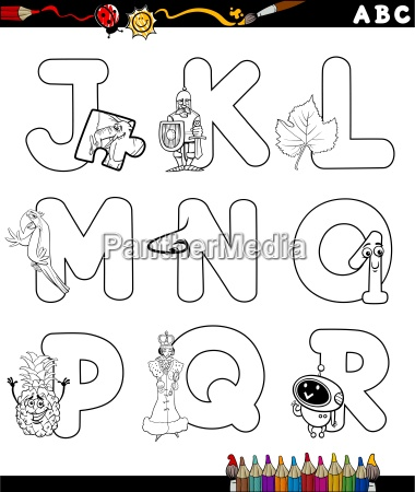 cartoon alphabet coloring page