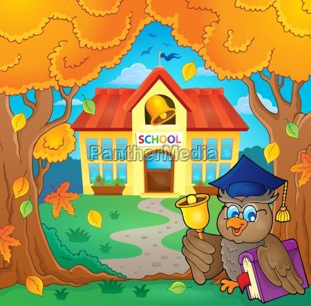 owl teacher near school building theme