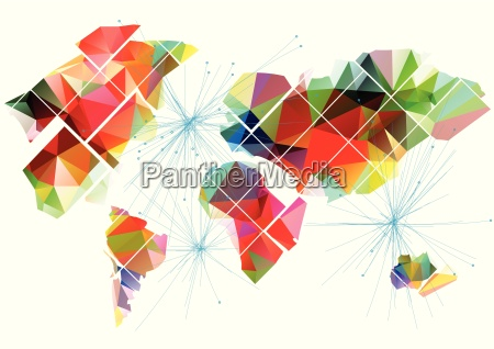 abstract multicolor world map