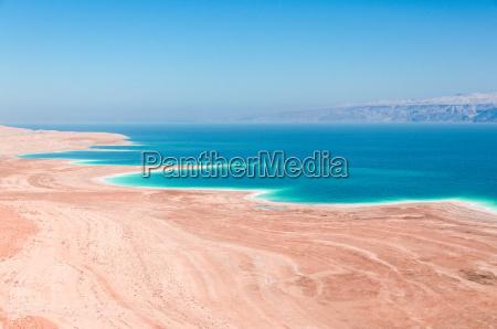 dead sea coastline in desert uninhabited
