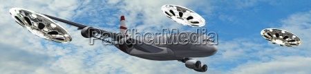 airliner accompanied by flying saucer